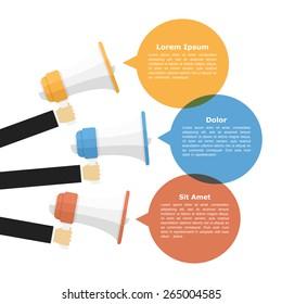 Megaphones with speech bubbles, promotion or announcement concept, vector eps10 illustration