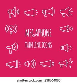 Megaphones thin line icons.