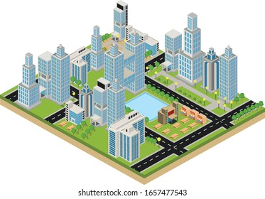 Megapolis 3d isometric three-dimensional view of the city. Collection skyscrapers, buildings, built and supermarkets with streets and tree. The stock vector
