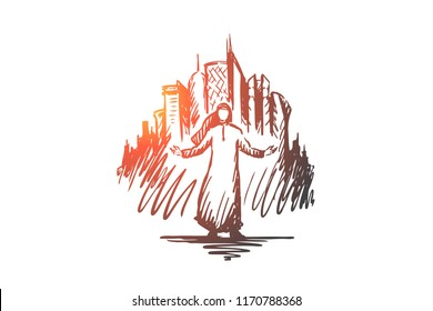 Megapolis, big city, businessman, islam, muslim concept. Hand drawn muslim man, skyscrapers of megapolis on background concept sketch. Isolated vector illustration.