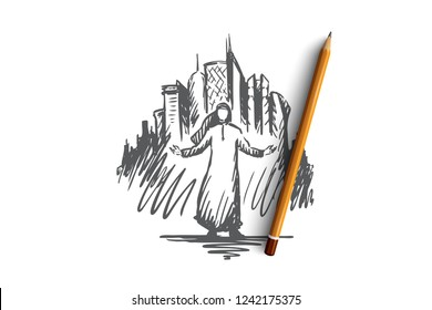 Megapolis big city islamic businessman. Muslim concept. Hand drawn muslim man with megapolis skyscrapers in background. Isolated vector illustration concept sketch.