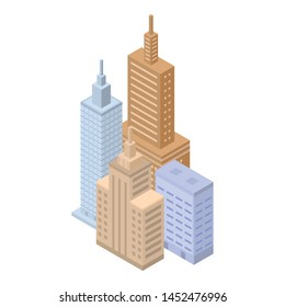 Megapolis buildings icon. Isometric of megapolis buildings vector icon for web design isolated on white background