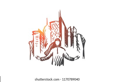 Megapolis, city, businessman, muslim concept. Hand drawn arab man and skyscrapers on background concept sketch. Isolated vector illustration.