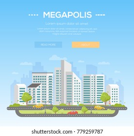 Megapolis - modern vector illustration with place for text on light blue background. Nice urban landscape with skyscrapers, trees, people walking, cars on the road, clouds in the sky
