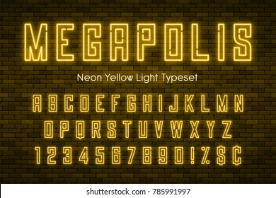 Megapolis neon light alphabet, realistic extra glowing font with brick wall background. Exclusive swatch color control.