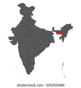 Meghalaya red on gray India map vector