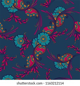 Mehendi indian traditional pattern, floral seamless vector background for saree clothes textile, fabric print. Seamless paisley backdrop with leaves and flowers. Awesome indian pattern design.