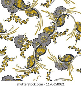 Mehendi indian traditional pattern, floral seamless vector background for saree clothes textile, fabric print. Seamless paisley background with leaves and flowers. Bright indian pattern design.