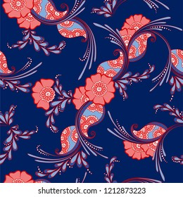 Mehendi indian traditional pattern, floral seamless vector background for saree clothes textile, fabric print. Seamless paisley backdrop with leaves and flowers. Elegant indian pattern design.
