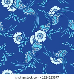 Mehendi indian traditional pattern, floral seamless vector background for saree clothes textile, fabric print. Seamless paisley backdrop with leaves and flowers. Decorative indian pattern blue design.