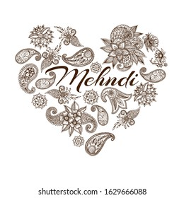 Mehendi oriental floral ornament in indian mehndi style in heart shape, vector illustration. Abstract henna mehndi floral design heart on white background poster.