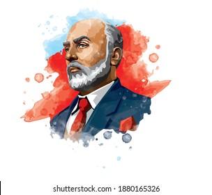 Mehmet Akif Ersoy (1873-1936) poeta, autor, académico y miembro del parlamento turco. Ilustración de la acuarela vectorial.
