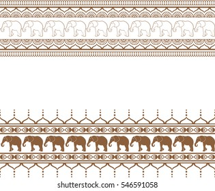 Mehndi brown border pattern elements with elephants and flower line lace in Indian style isolated on white background. Vector illustration