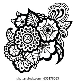 Mehndi design. Floral pattern. Coloring book pattern