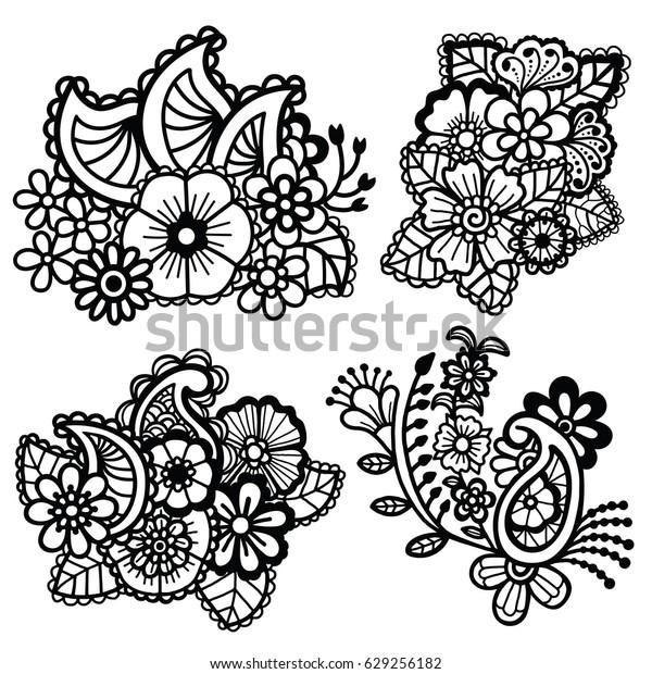 Mehndi Design Floral Pattern Coloring Book Stock Vector