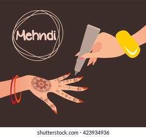 Mehndi Design. Henna tattoo. Vector illustration