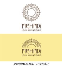 mehndi drawing studio. painting of body. body-art. indian tradition. mehendi logo. mehndi logo. indian design. henna tattoo. mandala. mehndi design. mehndi drawing.