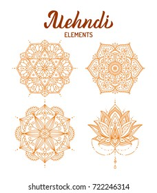 Mehndi elements set. Hand drawn mandalas and lotus flower. Design for your tattoo, stickers, cards or prints. Vector illustration.