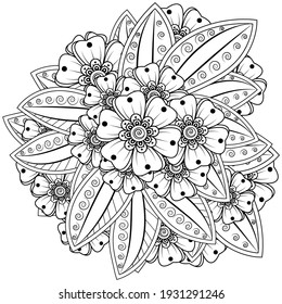 Mehndi flower for henna, mehndi, tattoo, decoration. decorative ornament in ethnic oriental style. doodle ornament. outline hand draw illustration. coloring book page.