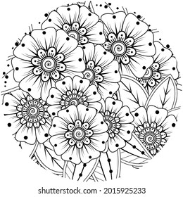 Mehndi flower for henna, mehndi, tattoo, decoration. decorative ornament in ethnic oriental style. doodle ornament. coloring book page.