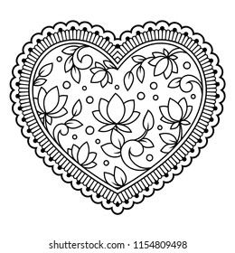 Mehndi flower pattern in form of heart with lotus for Henna drawing and tattoo. Decoration in ethnic oriental, Indian style.