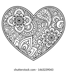 Mehndi flower pattern in form of heart for Henna drawing and tattoo. Decoration in ethnic oriental, Indian style. Valentine's day greetings. Coloring book page.