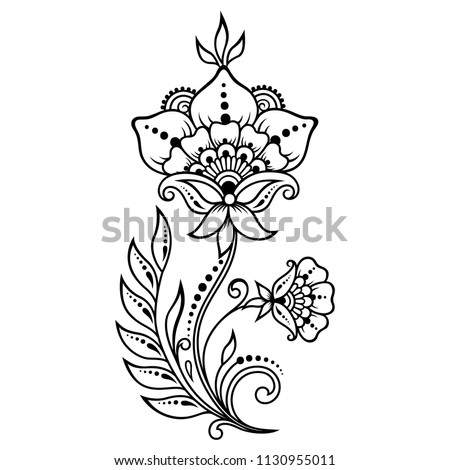 Mehndi Flower Pattern Henna Drawing Tattoo Stock Vector Royalty