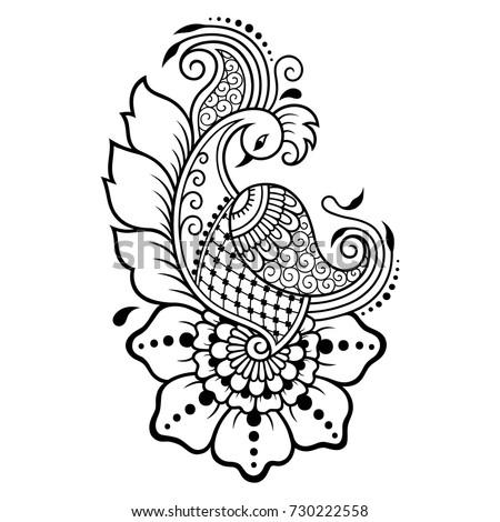 Mehndi Flower Pattern Henna Drawing Tattoo Stock Vector Royalty