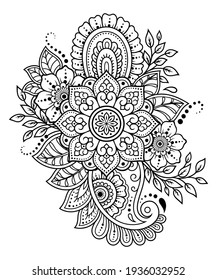 Mehndi flower pattern and mandala for Henna drawing and tattoo. Decoration in ethnic oriental, Indian style. Doodle ornament. Outline hand draw vector illustration.