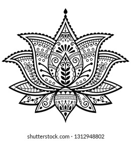 Mehndi henna tattoo lotus flower vector design, Indian ornamental pattern, Yoga or zen decoration, bohemian greeting card.   Beautiful lotus pattern inspired by traditional tattoo art from India