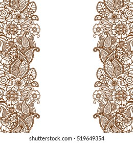 Mehndi horizontal Paisley background. Vector illustration
