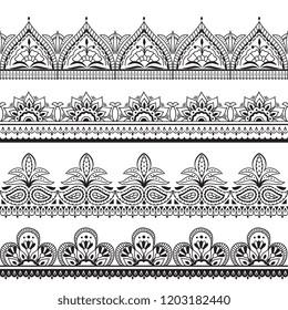 Mehndi indian design. Henna oriental seamless borders. Indian floral ornament vector frames. Illustration of border seamless pattern tattoo embellishment