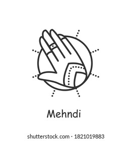 Mehndi line icon. Ethnic oriental henna patterns on hand. Indian bridal ornaments. Henna tattoo. Element yoga mudra hand. Indian culture and traditions. Isolated vector illustration. Editable stroke