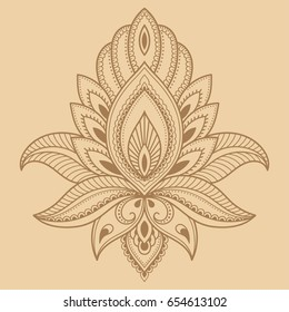 386ad7c2b Mehndi lotus flower pattern for Henna drawing and tattoo. Decoration in  ethnic oriental, Indian