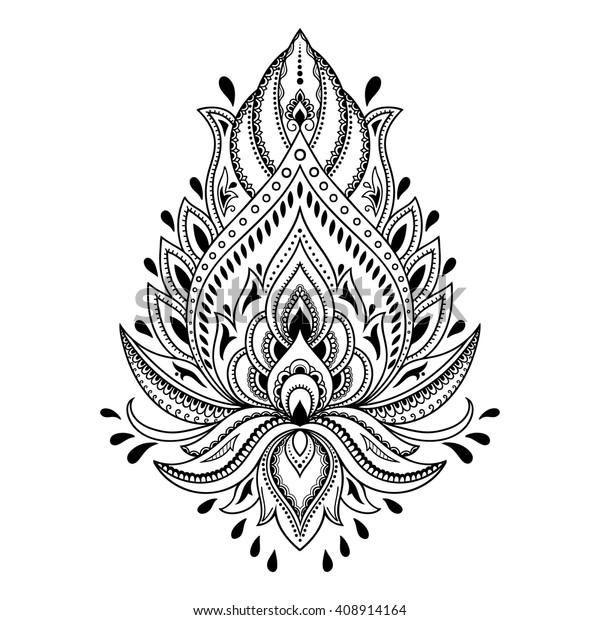 Stockvektor 408914164 med Mehndi lotusblommönster för ...