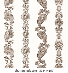 Mehndi ornamental henna seamless borders. Vector illustration
