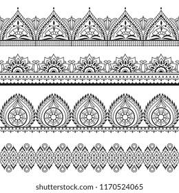 Mehndi seamless borders. Henna oriental patterns. Indian floral vector frames. Mehndi pattern outline, indian ornament frame illustration