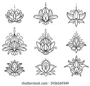 Mehndi set of Henna lotus. Hand drawn tatoo flowers. Floral paisley decorations in oriental, Indian, folk or ethnic style. Outline doodle vector ornament with editable stroke