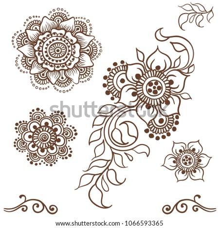 Mehndi Set Sketch Style Henna Style Stock Vector Royalty Free