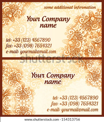 Mehndi Style Vintage Vector Business Cards Stock Vector Royalty