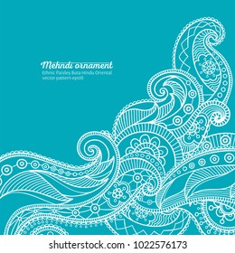 mehndi vector pattern,  ethnic paisley buta hindu oriental ornament, white wave on turquoise background, curl, floral motif