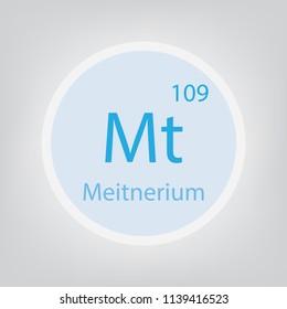 Meitnerium Mt chemical element icon- vector illustration