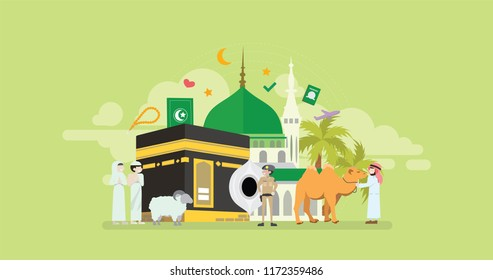 Mekkah Hajj And Umrah Season Islamic Prayer Tiny People Character Concept Vector Illustration, Suitable For Wallpaper, Banner, Background, Card, Book Illustration, And Web Landing Page