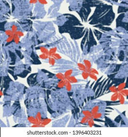 Melange hibiscus flowers with leaves wallpaper grunge vector abstract seamless pattern