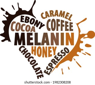 Melanin heart with many shadows of brown. Design for black people.