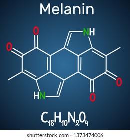 Melanin  molecule. Structural chemical formula and molecule model on the dark blue background. Vector illustration
