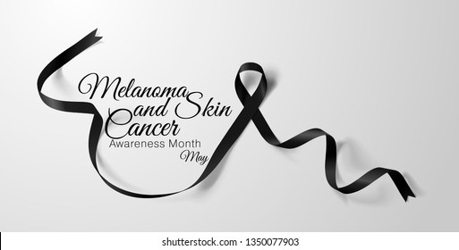 Melanoma and Skin Cancer Awareness Calligraphy Poster Design. Realistic Black Ribbon. May is Cancer Awareness Month. Vector