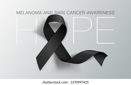 Melanoma and Skin Cancer Awareness Calligraphy Poster Design. Hope. Realistic Black Ribbon. May is Cancer Awareness Month. Vector