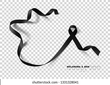Melanoma and Skin Cancer Awareness Month. Black Color Ribbon Isolated On Transparent Background. Vector Design Template For Poster.