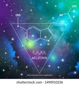 Melatonin hormone molecule and formula in front of cosmis background. Body chemistry infographic. Circadian rhythm drug.